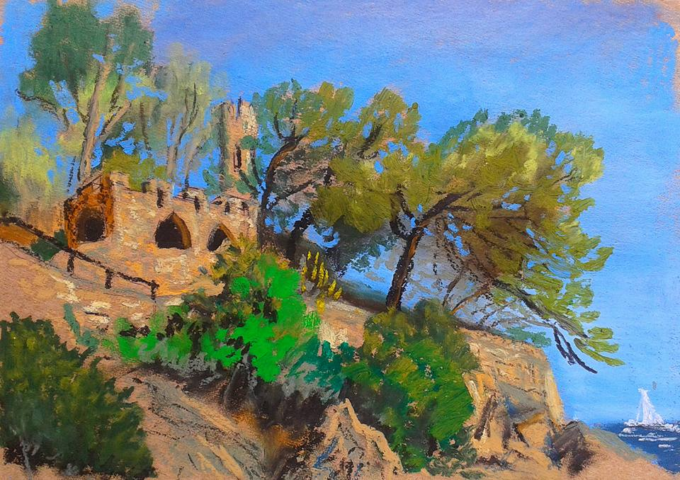 Castle. Spain. Lloret De Mar. 06.2016. Oil pastel. 21x30- Artist- Mary Kart